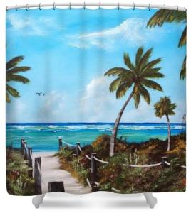 """""""This Way To Siesta Key Beach"""" Shower Curtain BUY $80"""
