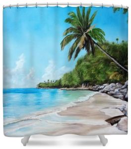 """Tropical Beach In Paradise"" Shower Curtain BUY $80"