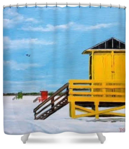 """Yellow Life Guard Shack On Siesta Key"" Shower Curtain BUY $80"