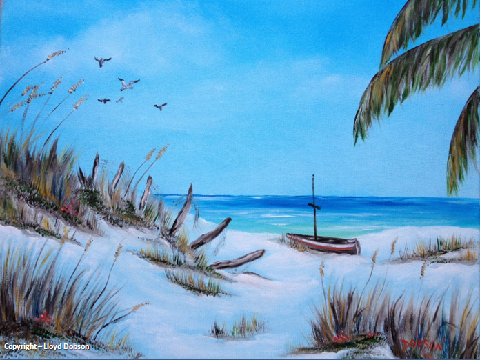 Art_-_#19414_-_Broken_Fence_On_Beach_-_16x20_-_Copyright
