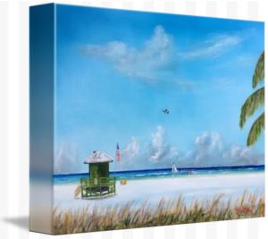 """Green Lifeguard Shack On Siesta Key"" Starting at $75 BUY"