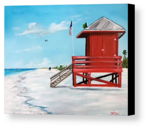 """Let's Meet At The Red Lifeguard Shack"" Canvas Print BUY"
