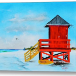 Art_-_Red_Life_Guard_Shack_On_The_Key_-_Canvas_Print