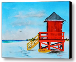 """Red Life Guard Shack On Siesta Key"" Canvas Print BUY"