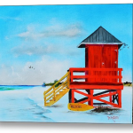 """Red Life Guard Shack On The Key"""