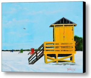 """Yellow Life Guard Shack On Siesta Key"" Canvas Print BUY"