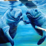 1_-_Manatees_Socializing_-_Unfinished_Painting