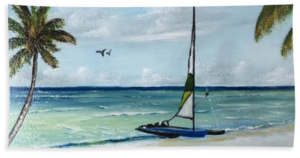 """Catamaran On The Beach"" Beach Towel BUY"