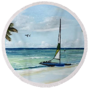 """Catamaran On The Beach"" Round Beach Towel BUY"
