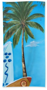 """Clear Sky Let's Surf"" Beach Towel BUY"