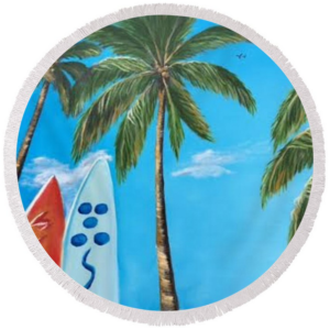 """Clear Sky Let's Surf"" Round Beach Towel BUY"