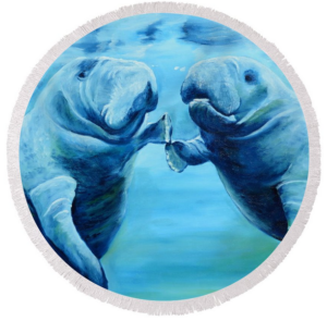 Art_-_Manatees_Socializing_-_Round_Beach_Towel