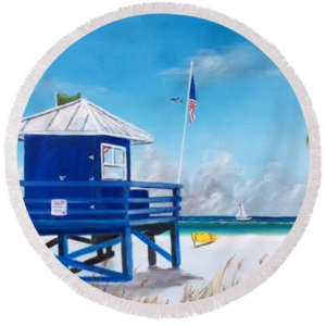 """Meet At Blue Lifeguard"" Round Beach Towel BUY"