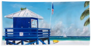 """Meet At The Blue Lifeguard Shack"" Beach Towel BUY"