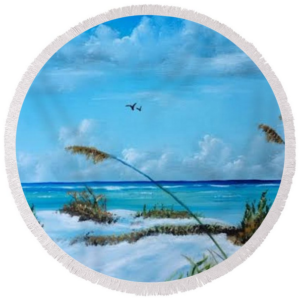"""Sea Grass On The Key"" Round Beach Towel BUY"