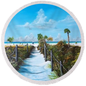 """Siesta Beach Access"" Round Beach Towel BUY"