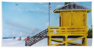 """Siesta Key Lifeguard Shack"" Beach Towel BUY"