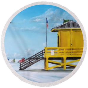 """Siesta Key Lifeguard Shack"" Round Beach Towel BUY"
