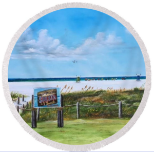 """Siesta Key Public Beach"" Round Beach Towel BUY"