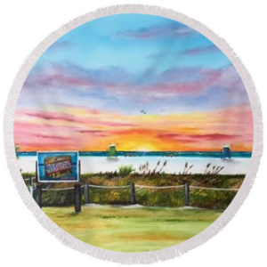 """Sunset At Siesta Key Public Beach"" Round Beach Towel BUY"