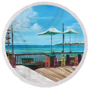 """Sunset Pier Key West"" Round Beach Towel BUY"