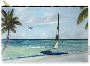"""Catamaran On The Beach"" Carry-all Pouch BUY"