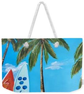 """""""Clear Sky Let's Surf"""" Weekender Tote Bag BUY"""