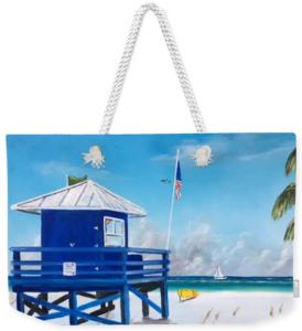 """""""Meet At Blue Lifeguard Shack"""" Weekender Tote Bag BUY"""