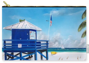 """Meet At The Blue Lifeguard Shack"" Carry-All Pouch BUY"