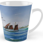 """Sail Boat At Sunset Pier Tiki Bar"" Tall Mug BUY $15"