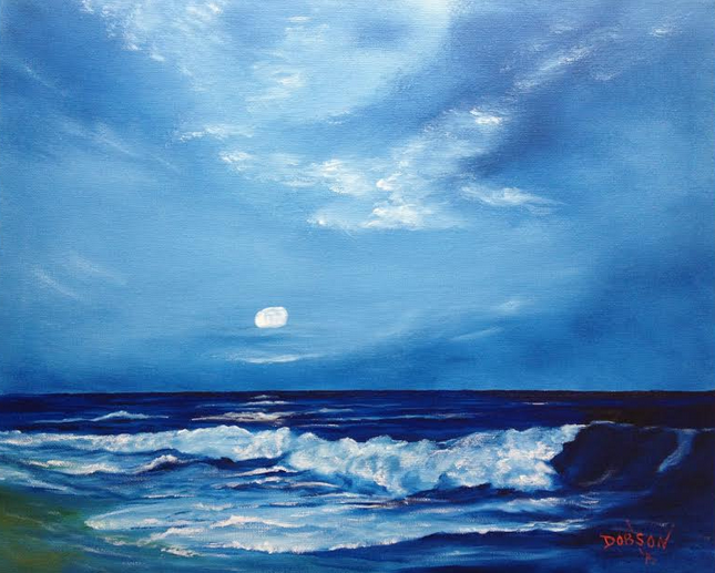 """Moonlight Wave"" 16""h x 20""w - $250 FREE shipping Lower US 48 & Canada"